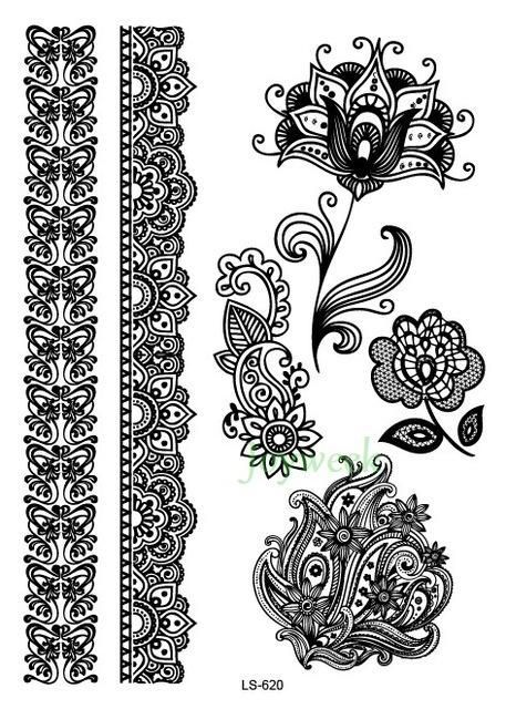 7ba46744d Waterproof Temporary Tattoo Sticker sexy lace flowers stocking tatto  stickers henna flash tatoo fake tattoos for girl women 27 #Tattoosforwomen