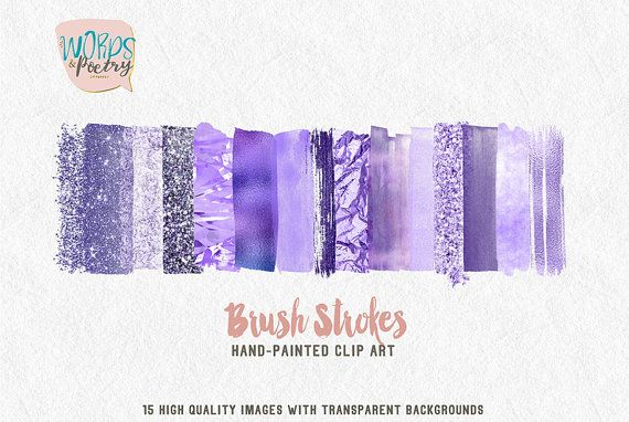 15 watercolor brush strokes clipart in a purple glitter palette.  This clipart collection will be archived in a ZIP file and available for instant download after purchasing. No physical items will be shipped. These elements look best on lighter or dark backgrounds. These are perfect for every projects: • Art prints • Logo • Packaging • Stationery • Merchandise • Poster • Website and Social Media Banner • Book cover • Invitations • and more!  What you get: -15 separate brush strokes with…