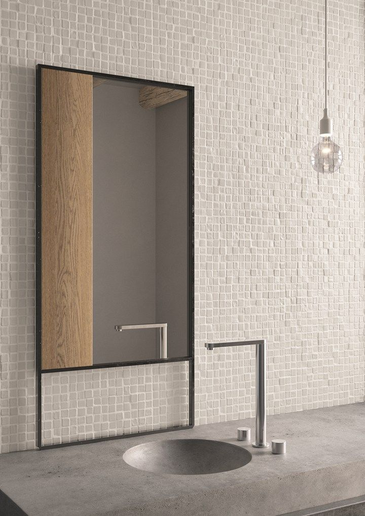 Concrete basin + beige zelliges tiles bathroom #nspiration