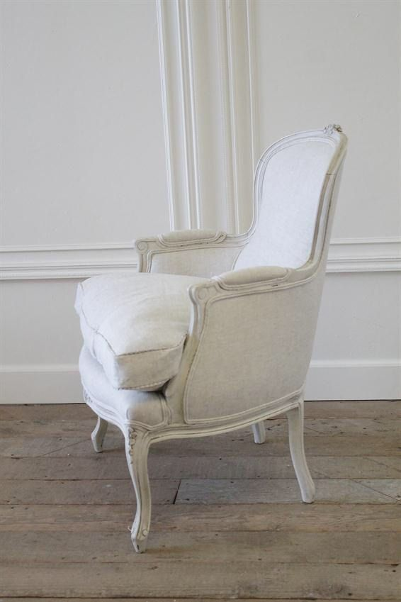 Antique country French painted linen bergere by FullBloomCottage