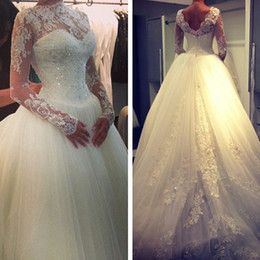 Discount 2015 Sexy New Sheer Lace Long Sleeves Backless A Line Wedding Dresses High Neck Tulle Applique Beaded Court Train Bridal Gowns Wedding Gown Dresses Wedding Gowns Wedding Dresses From Dress_beautiful, &Price;| DHgate.Com