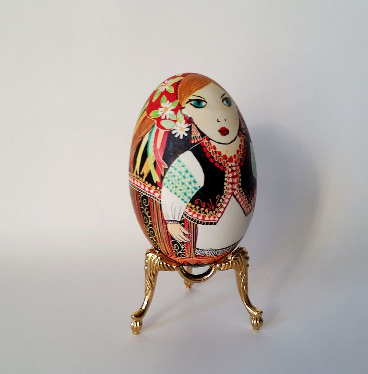 """Christmas Gift for Wife Ukrainian embroidery on Goose egg pysanka. Pysanka is a Ukrainian egg, decorated with traditional Ukrainian folk designs using a wax-resist method. The word pysanka comes from the verb pysaty, """"to write"""", as the designs are not painted on, but written with beeswax. Pysanka is a great gift. It's a symbol of new life fresh beginning, wholesomeness. I made eggs for baby showers, bridesmaid's gifts, wedding rehearsal dinners favors, engagement party, and coming home…"""