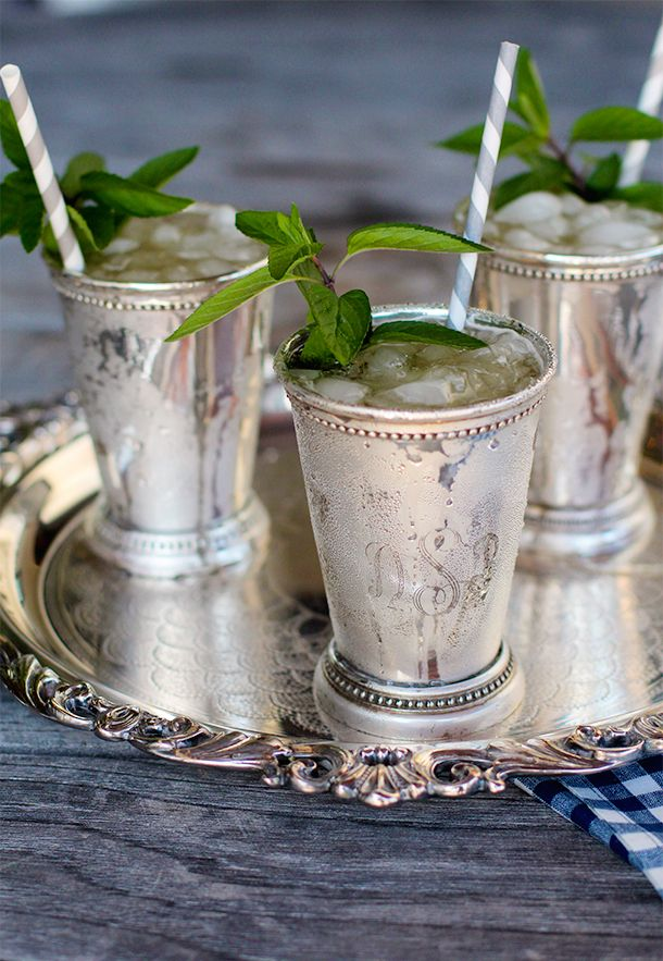 mint juleps with striped paper straws