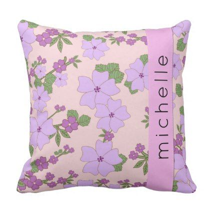 Your Name - Flowers Leaves Blossoms - Purple Throw Pillow - purple floral style gifts flower flowers diy customize unique