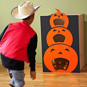 Jack-o-lantern bag toss game, plus bone-e-fied scavenger hunt, spider walk, mystery boxes, halloween pinata, all SO CUTE halloween ideas