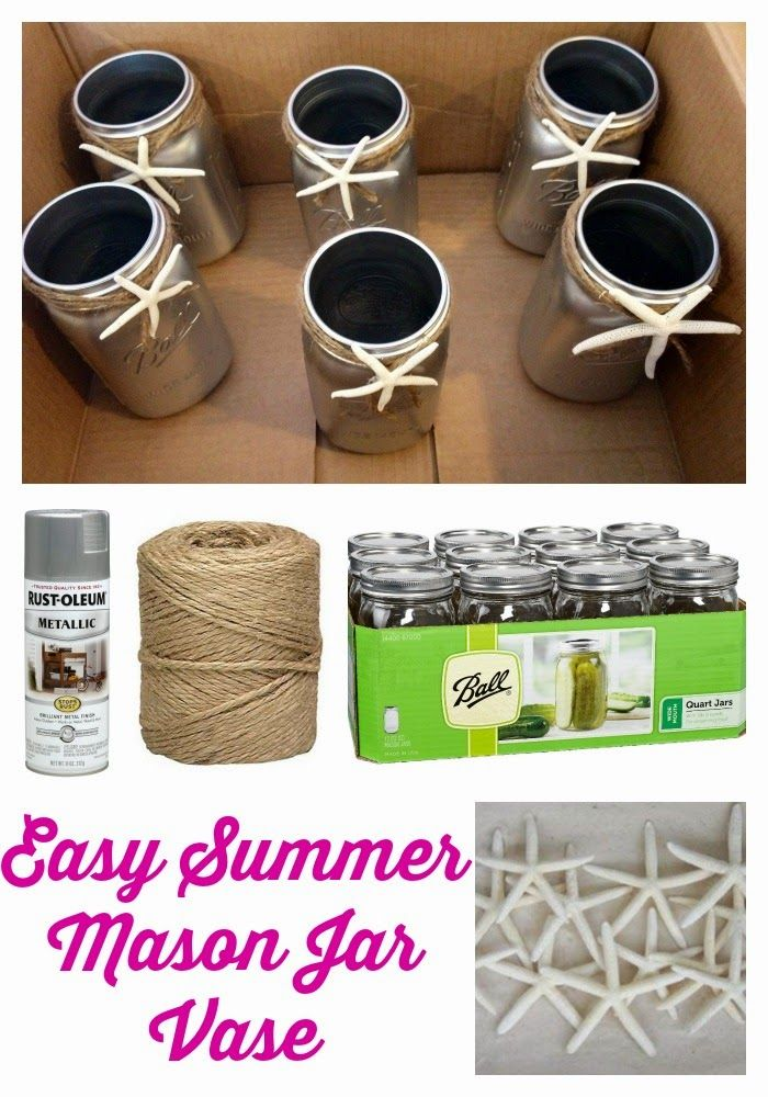 Easy Diy Summer Mason Jar Vase Mason Jar Vases Wedding