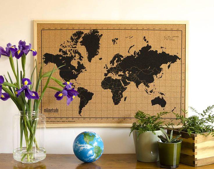 Wereldkaart prikbord - Wereldkaart prikbord. Plaats je ansichtkaarten, vakantie…