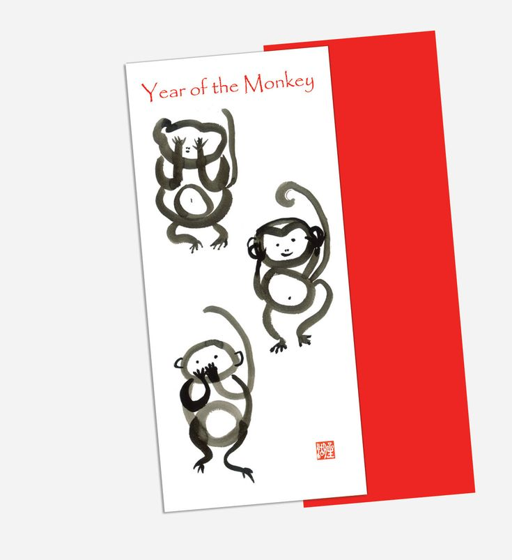 Monkey Card, Chinese New Year, Chinese Zodiac, three monkeys, speak, hear, see, new year 2016 card, lucky red envelope, hóngbāo, oshogatsu by ZenBrush on Etsy