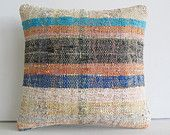 rustic pillowcase striped cushion shabby chic home decor shabby chic pillow decorative southwestern pillow outdoor floor pillow cream blue