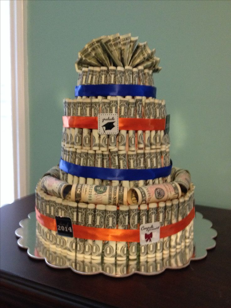 A money cake I made for my son's high school graduation gift.