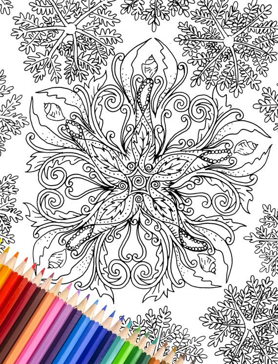 Printable Coloring Page Starfish by AmandaRiverArt on Etsy