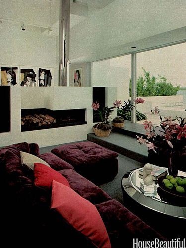 This House In Biscayne Bay Florida From Beautifuls March 1981 Issue Has A Geometric Fireplace Which Stereo Speakers Built Into Each Side