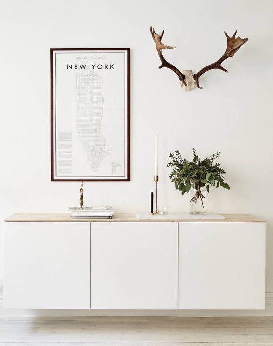 all white sideboard look