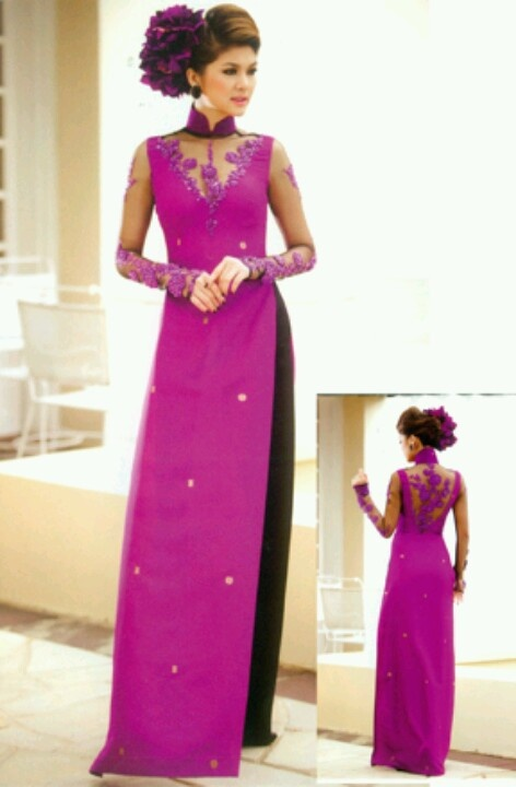 Ao dai modern purple