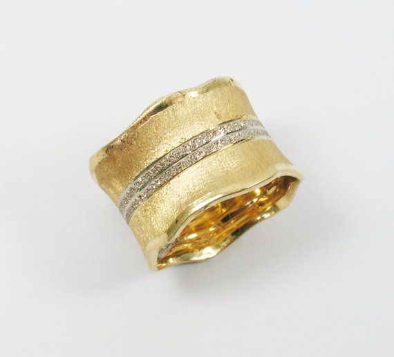 WIDE unique WEDDING band- 14k yellow & white gold (1382)