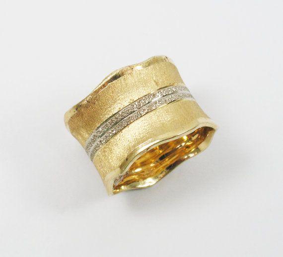 Wide unique wedding band 14k yellow white gold (1382)Romantic wedding ring, Elegant wedding ring, Special gold wedding ring