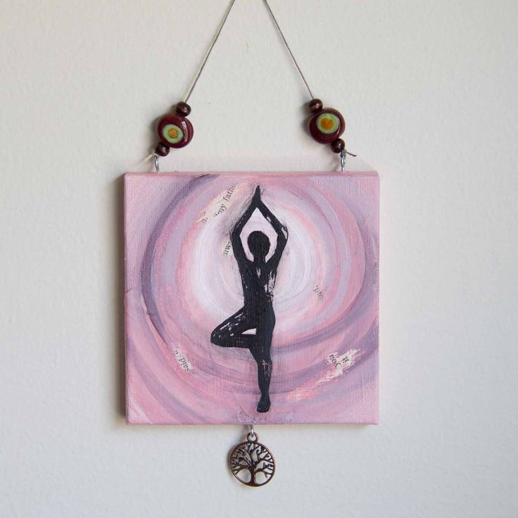 Mini yoga painting, Tree pose, Yoga decor, Mixed media art, Yoga inspired art, Pink art, 4x4 canvas by studio1060art on Etsy