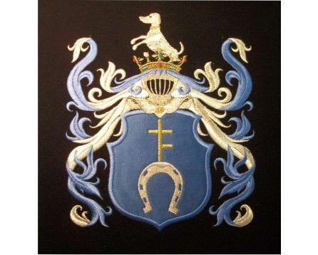 Herb rodowy/herb szlachecki POBÓG - coat of arms - AHA STUDIO Pracownia Haftu Artystycznego | HAFT ARTYSTYCZNY -HERBY, SZTANDARY, PROPORCZYKI  cena 250 zł.   ZAMÓW