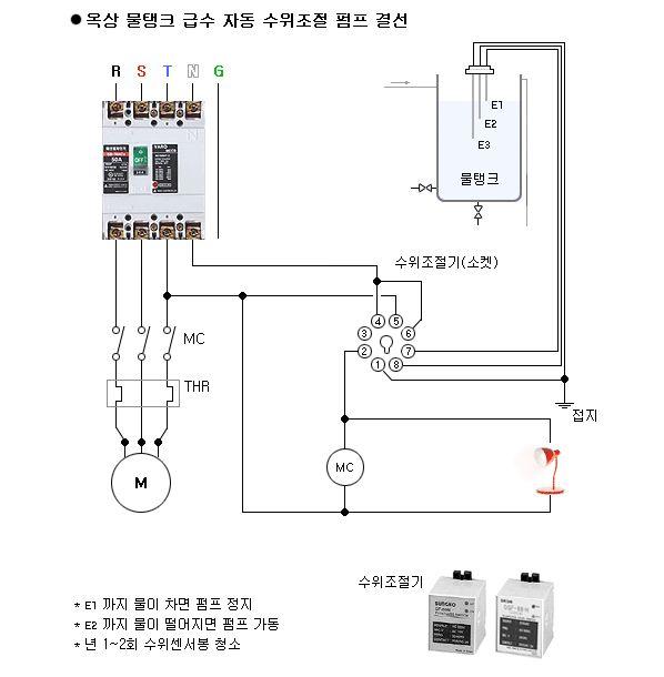 제주설비 옥상 물탱크 급수 자동 수위조절 펌프 결선