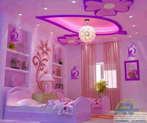 Little Girls Bedroom I Love The Wall Designs But Not The Beds Wish I Could Do This For My Lil Girls