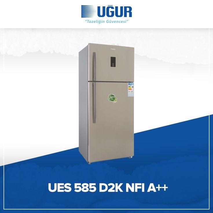 UES 585 D2K NFI A++ birçok özelliğe sahip. Bunlar; no-Frost (Otomatik defrost), elektronik ısı kontrol 0 C° bölmesi, nem kontrollü sebzelik, led aydınlatma, geniş sebze ve meyve bölmesi, kapı açık alarmı, kapıda yer tasarrufu sağlayan buz yapma bölümü, yüksek yalıtımlı saklama kabı, dijital termometre, geniş şişe bölmesi. #uğur #uğursoğutma