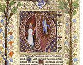 "Items similar to Vintage Illuminated Manuscript Print, Bible Psalm 131, David, God,  Letter ""M"", Remember on Etsy"