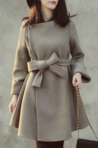 Noble Jewel Neck Solid Color High Waist Belted Dress Wool Coat For Women