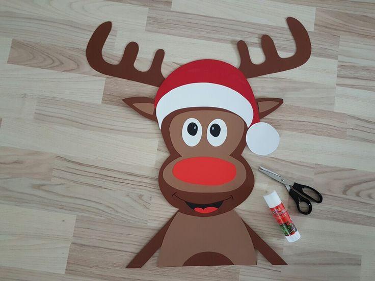 xxl fenster bild elch aus fotokarton für weihnachten