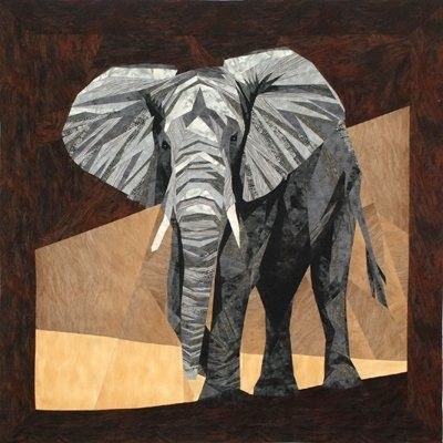 ENGLISH PAPER PIECING...........PC  'Norman' the elephant - paper-pieced pattern by Silver Linings