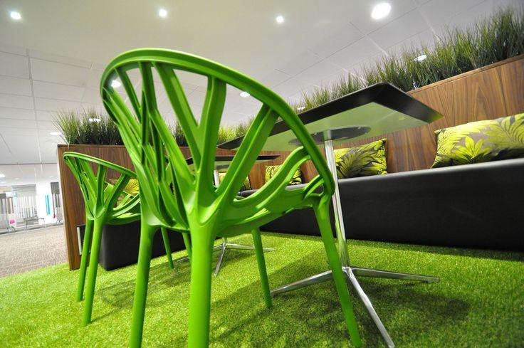 bof showroom, bespoke seating with Vitra vegetal chairs.