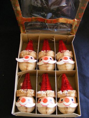 Box of 6 Vintage HOLT-HOWARD Santa Claus Christmas Ornaments Tree Trimmers JAPAN