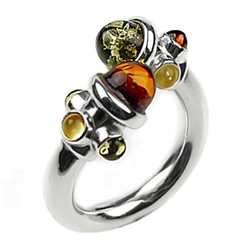 Multicolor Amber and Sterling Silver Adjustable Designer Ring, Sizes 5,6,7,8,9,10,11,12 - Jewelry For Her