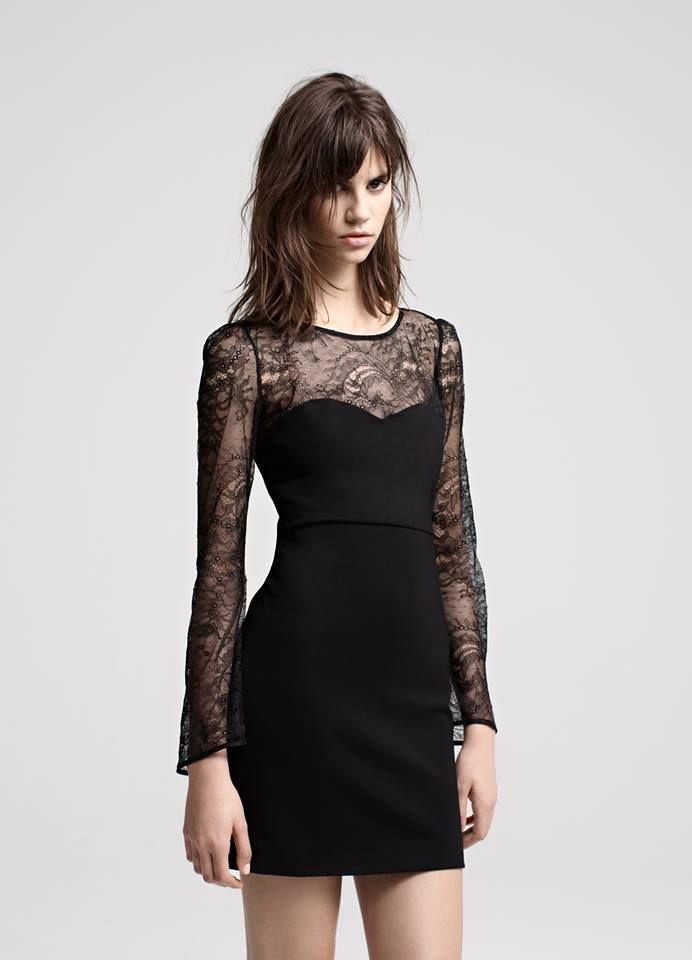 DERAPHINE Robe trompe-l'oeil bustier et dentelle / Bustier dress with lace top and sleeves