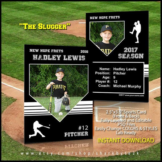 Baseball Card Template Perfect For Trading Cards For Your Etsy Baseball Card Template Trading Card Template Baseball Cards