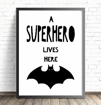 Superhero Batman Nursery Wall Art Print. A Superhero Lives Here Bedroom  Wall Art Decor.