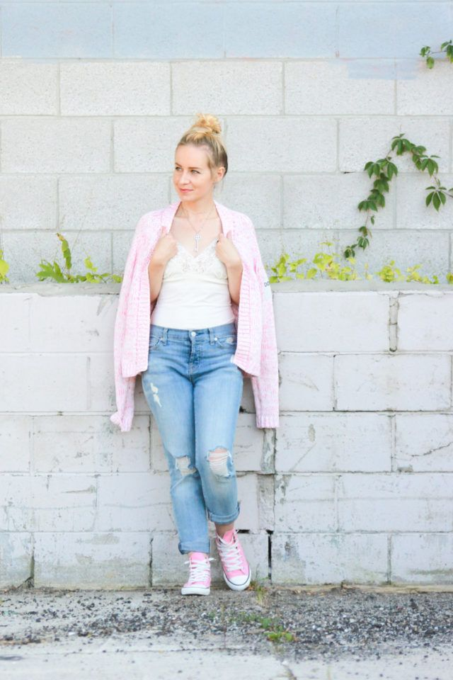 Bench pink cardigan with lace cami and 7 for All Mankind jeans