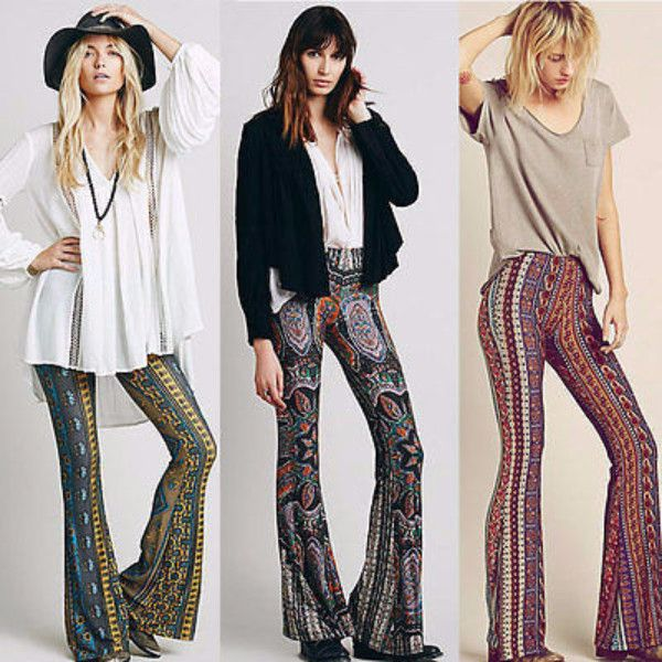 3e87551f3fc77 Bell Bottom Trousers Paisley Print Stretch Flare Boho Hippie Style Pants