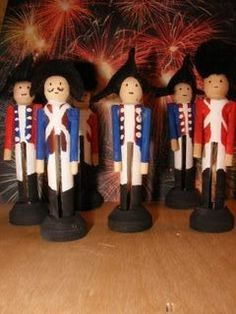 Clothes pin American Revolution toy  soldiers