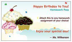 Vistaprint Free Business Cards - Birthday Homework Pass