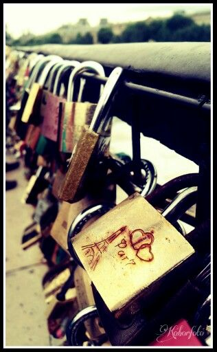 Paris love lock on bridge