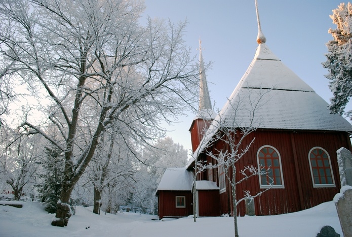 the Ulrika Eleonora Church (1700) in winter.  (Photo: Kajsa Snickars)
