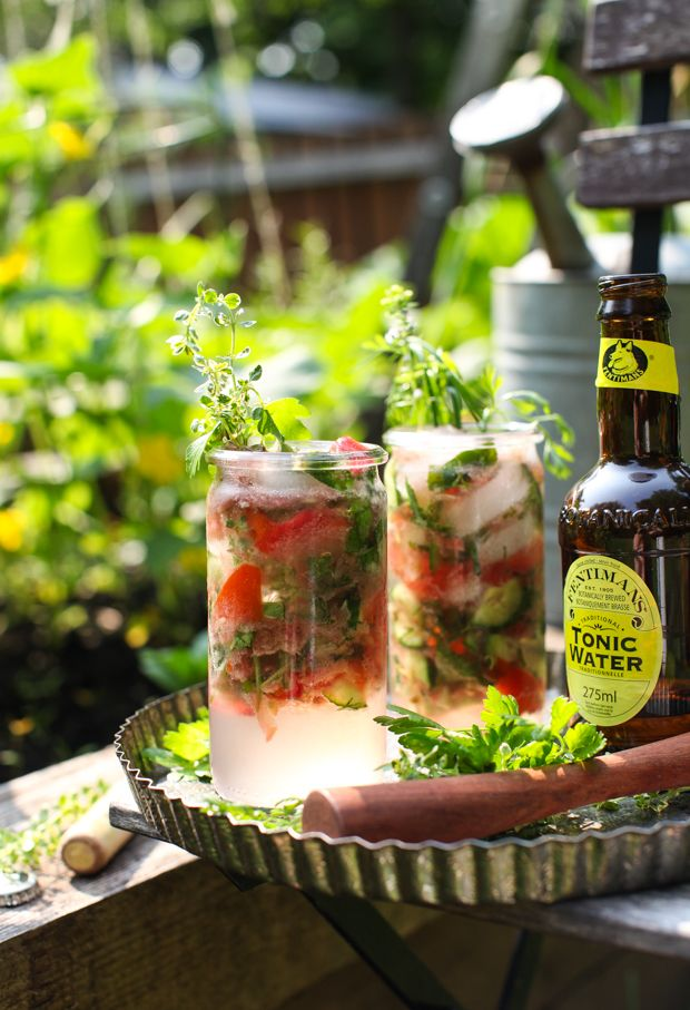 Herbal Homestead Gin & Tonic: If a Bloody Mary and a G&T had a baby, this refresher would be it.