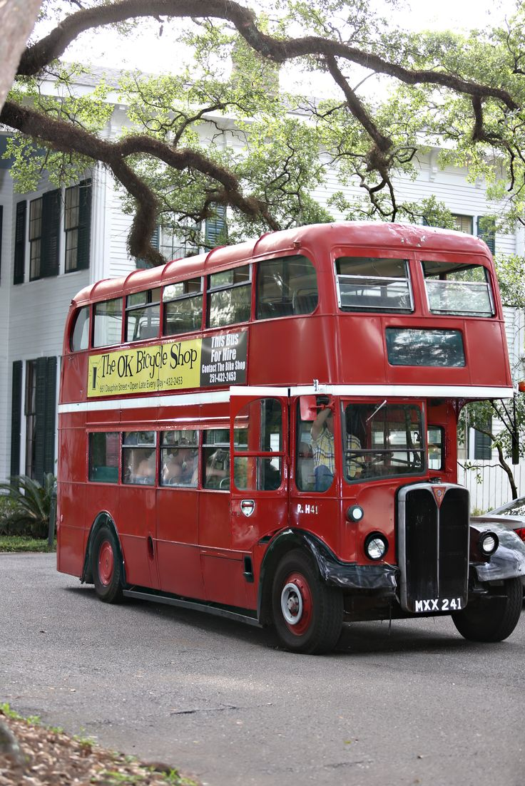 Former London RLH 41 (MXX 241) with The OK Bicycle Shop, a restaurant in Mobile, Alabama, USA.