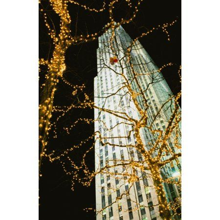 Rockefeller Centre At Night Canvas Art - Conor Caffrey Design Pics (12 x 19)
