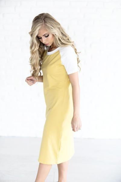 Baseball Dress - Mustard http://mindymaesmarket.com?rfsn=707275.4b4a2b