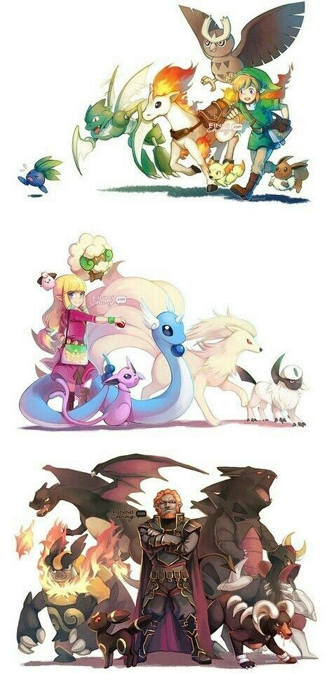 Link, Zelda, Ganodorf et leur équipe Pokémon ^^