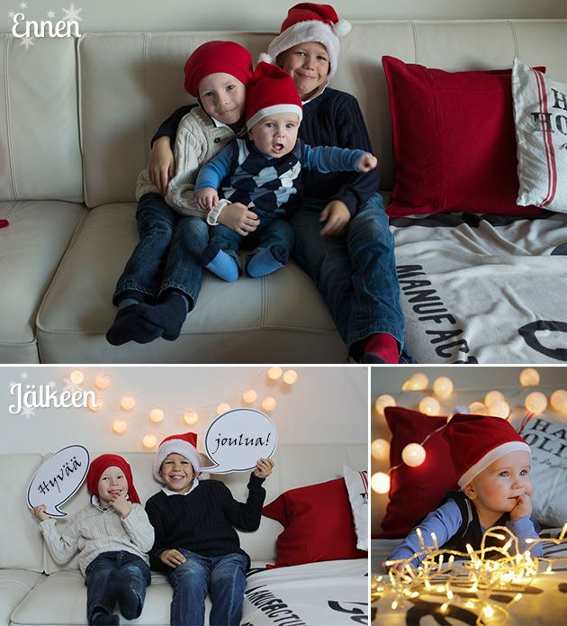 Perinteinenkin sohvakuva näyttää hauskalta, kun kuvitat sen puhekuplilla. Tämä saa takuulla myös isommat lapset innostumaan kuvauksesta. 5 vinkkiä parempiin joulukorttikuviin - http://www.ifolor.fi/inspire_5_vinkkia_parempiin_joulukorttikuviin