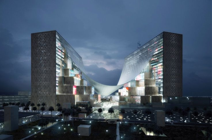 bjarke ingels unites qatar media HQ with giant tensile canopy