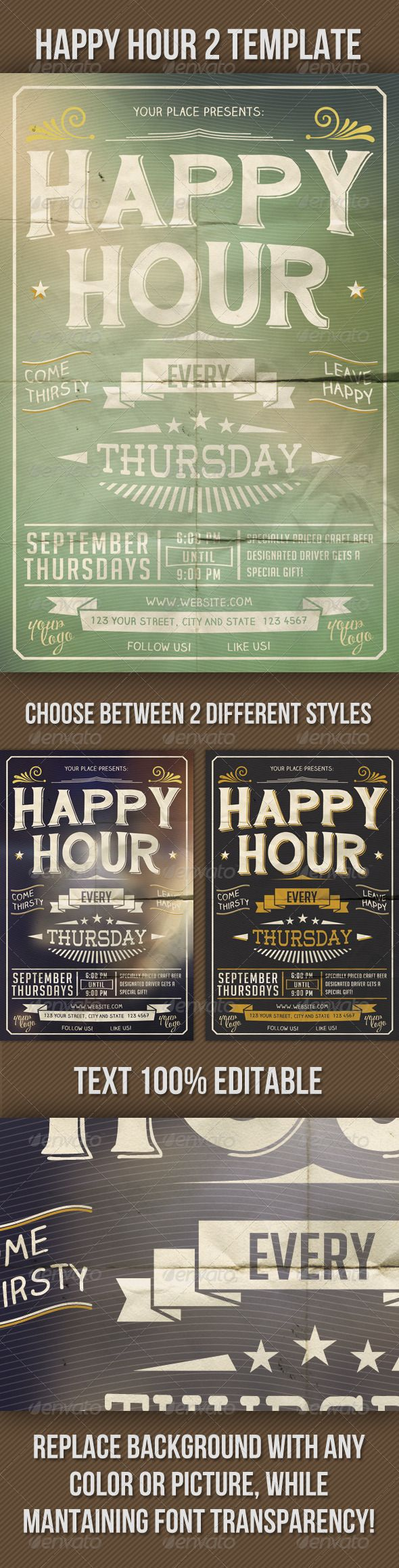 Happy Hour Indie Flyer Vol. 2 — Photoshop PSD #typographic #vintage • Available here → https://graphicriver.net/item/happy-hour-indie-flyer-vol-2/5471041?ref=pxcr
