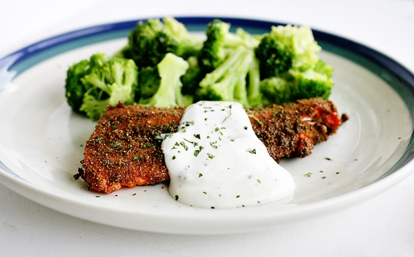 Salmon with Coriander Rub and Lime Cream | ::warm eats:: | Pinterest